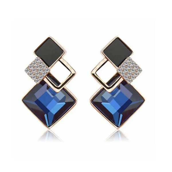 Fabstreet Big Square Crystal Stud Earrings